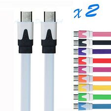 2 X Flat Micro USB 2.0 DATA Sync Charging Cable For Samsung Galaxy S2 S3 S4&HTC