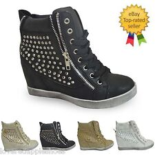 WOMENS LADIES HI TOP TRAINERS WEDGE BOOTS ZIPPER LACE STUDDED SHOES SIZE