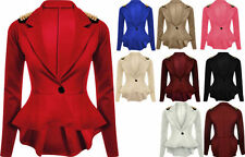 LADIES SPIKE STUDDED PEPLUM FRILL TAIL BACK SEXY WOMEN TOP JACKET/ BLAZER/ COAT