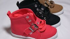 NEW KIDS Girls Lace Up Velcro  Canvas Sneakers Shoes In Coral Black & Camel