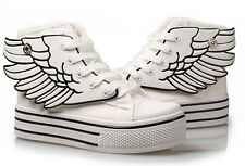 2014 Womens Fashion Lace Up Angel Wings High Platform High Top Canvas Sneakers