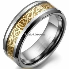 8mm Comfort Fit Men's Tungsten Carbide Band Gold Tone Celtic Dragon Inlay Ring