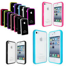 TPU Bumper Frame With Clear Hard Back Skin Case Cover for iPhone 4 4S