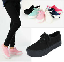 New Womens Canvas Cute Light Platform Flat Sneakers Trainer Shoes Fashion