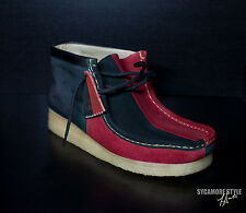 SYCAMORE STYLE Custom Dyed Black and Red Wallabee Clarks Boots