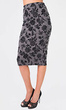 Hidden Fashion Ladies High Rise Floral Velvet Flock Print Bodycon Pencil Skirts