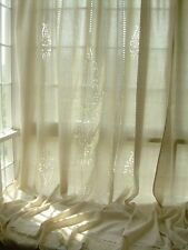 Tab Top Embroidered Hollow Out Cotton Linen Crochet Lace Curtain F08