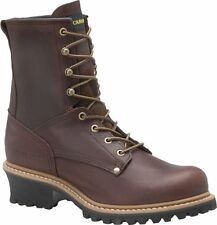 "Men's Carolina Boots 1821 8"" Logger Safety Steel Toe Work Boot Brown Leather D"