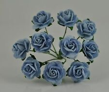 """Mulberry Paper Rose BABY BLUE 15mm 5/8"""" miniature for scrapbooking greeting card"""