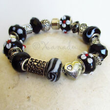 Mom Loves Black European Charm Bracelet - Mothers Day Gift Idea With Flowers