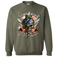 UNITED STATES AIR FORCE USA Army Blue Berets Jets Skull Cool Military Sweatshirt