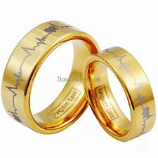 Gold Tone Tungsten Carbide Ring Forever Love Heartbeat Couples Wedding Band