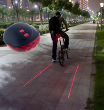 5 LED+2 Laser Cycling Bicycle Bike Red Rear Tail light Lamp Waterproof Flash