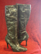 Made in England Black / Grey Leather  Snake Skin Effect Boots UK7 Knee High Slim