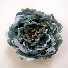 LARGE GLITTERED PEONY ARTIFICIAL FLOWER HAIR CLIP/PIN BROOCH