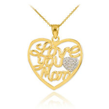 "Mother's Day Gifts 14K Gold Diamond Pave Heart "" Love You Mom "" PENDANT Necklace"