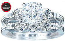 2 piecess set Real 925 Sterling silver Women's Wedding Engagement Ring Sz 3.5-11