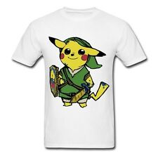 Pikachu Link Pokemon Zelda PikaLink Graphic T-Shirt Men's Style (Brown/White)