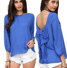 Fashion Women 2014 Spring And Summer Chiffon Loose Backless Bow Pattern Blouse