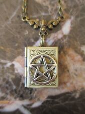 Fancy Wicca Book of Shadows Silver Pentacle Handmade Photo Locket Chain Necklace