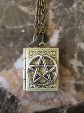 Wicca Book of Shadows Silver Pentacle Handmade Photo Locket Chain Necklace