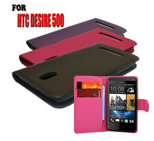 3 Colour Wallet Flip Protective Pu Leather Phone Case Cover For HTC Desire 500