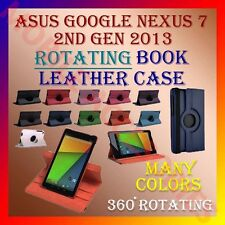ASUS GOOGLE NEXUS 7 2nd GEN 2013 ROTATING BOOK LEATHER COVER CASE STAND ROTATE
