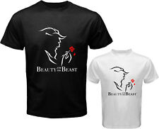 BEAUTY AND THE BEAST Broadway Musical Show Men's White Black T-Shirt Size S-3XL