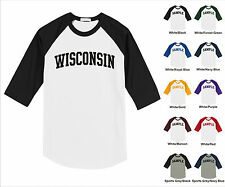 State of Wisconsin College Letter Team Name Raglan Baseball Jersey T-shirt