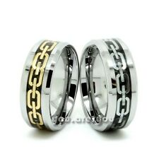 8mm Men Tungsten Gold/Silver Chain Link Inlay Wedding Band Ring Size 7-12 Gift