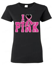 I Love Pink Breast Cancer Awareness WOMAN T-SHIRT save the boobies Tee