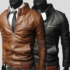 2014 Men's Slim Stand Collared PU Leather Jacket Coat Motorcycle Zipper Design