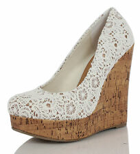 Off White Lace Round Toe Cork Platform Wedge Slip-On Sure White
