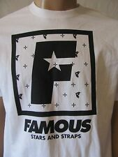 New FAMOUS STARS & STRAPS Mens White S/S Crew F Flat Squared Tee Shirt Top $22