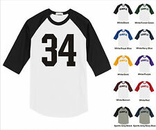 Number #34 Thirty Four Sports Raglan Baseball Jersey T-shirt Front Print