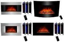 Backlit LED Wall Mount Electric Fireplace Firebox 3D Flame Remote Control Heater