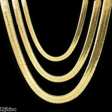 """Men & Lady 14K Gold Plated 4mm - 14mm Flat 20"""" Or 24"""" Herringbone Necklace Chain"""