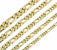 Mens 14K Gold Plated 3mm To 12mm  Figaro Link Necklace Chain 24 Or 30 Inch