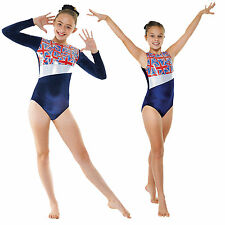 Gymnastics Leotard Girls Women's Long Sleeve and Sleeveless Navy Blue Velvet