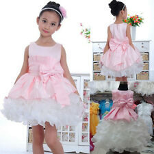 2014 New Gown Wedding Prom Baby Bridesmaid Flower Bow Girls Kids Formal Dresses