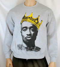 Tupac Shakur King Crown Mens Sweatshirt Crewneck Sweater Hip-Hop NWA 2pac