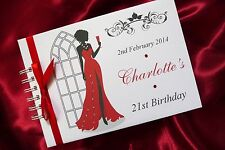 Personalised A5 Hen/Birthday Party guest book/album optional boxed 1554RedB