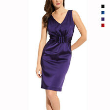 Gathered V-Neck Stretch Satin Formal Cocktail Party Dress co1415