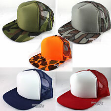 Kids Youth Trucker Hat Mesh Back Adjustable Snapback Cap Camo Blank Camouflage