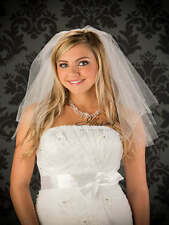 "Elbow Length Veil 2 Layer 25"" Long Illusions Bridal Veils Pearls & Rhinestones"