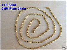 "GOLD CHAIN AUTHENTIC 14K YELLOW 2MM DIAMOND-CUT ROPE CHAIN NECKLACE SIZE 7""-30"""