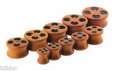 Button Design Double Flare Organic Sawo Wood Ear Plugs Gauges sizes 0G - 26mm