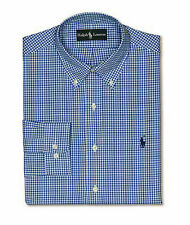 POLO RALPH LAUREN Dress Shirt-Blue Check-Polo Pony-Retail$89-NWT-M/L 15 to 16.5