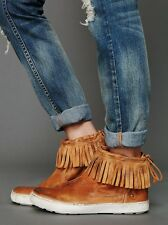 NWOB Free People $148 brown fringe sneaker ANDERS MOCCASIN leather ankle boots