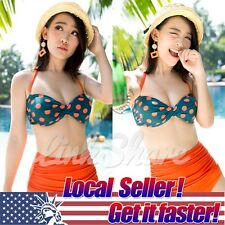 2015 TOP RETRO Swimsuit Swimwear Vintage Push Up Bandeau HIGH WAISTED Bikini Set